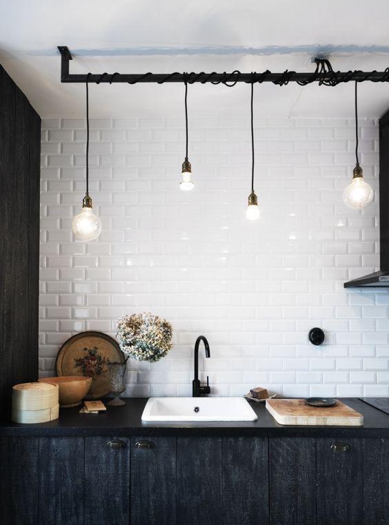 Eclairage vintage dans la cuisine
